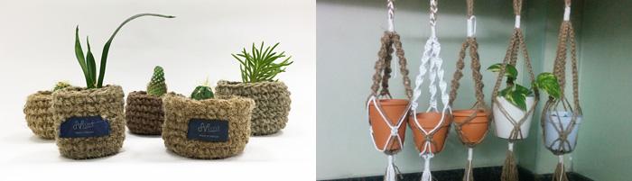 ジュートのかぎ針編みポットとジュートのマクラメ プラントカバー