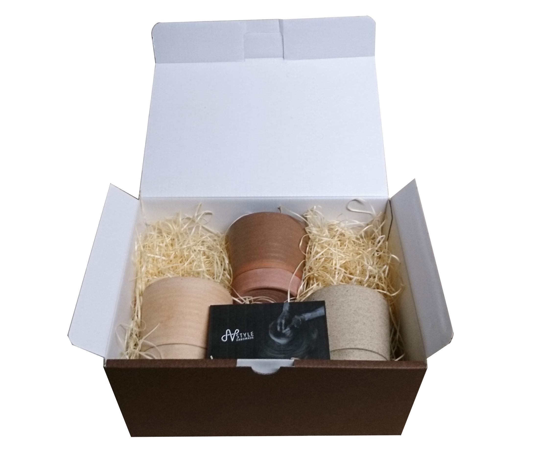 「バッチャン焼き窯元」アンダオ村ろくろ成形 受け皿一体型陶器鉢「ハーモニー」2.5号鉢 3色ギフトセット