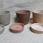 「バッチャン焼き窯元」アンダオ村ろくろ成形 受け皿一体型陶器鉢「ハーモニー」