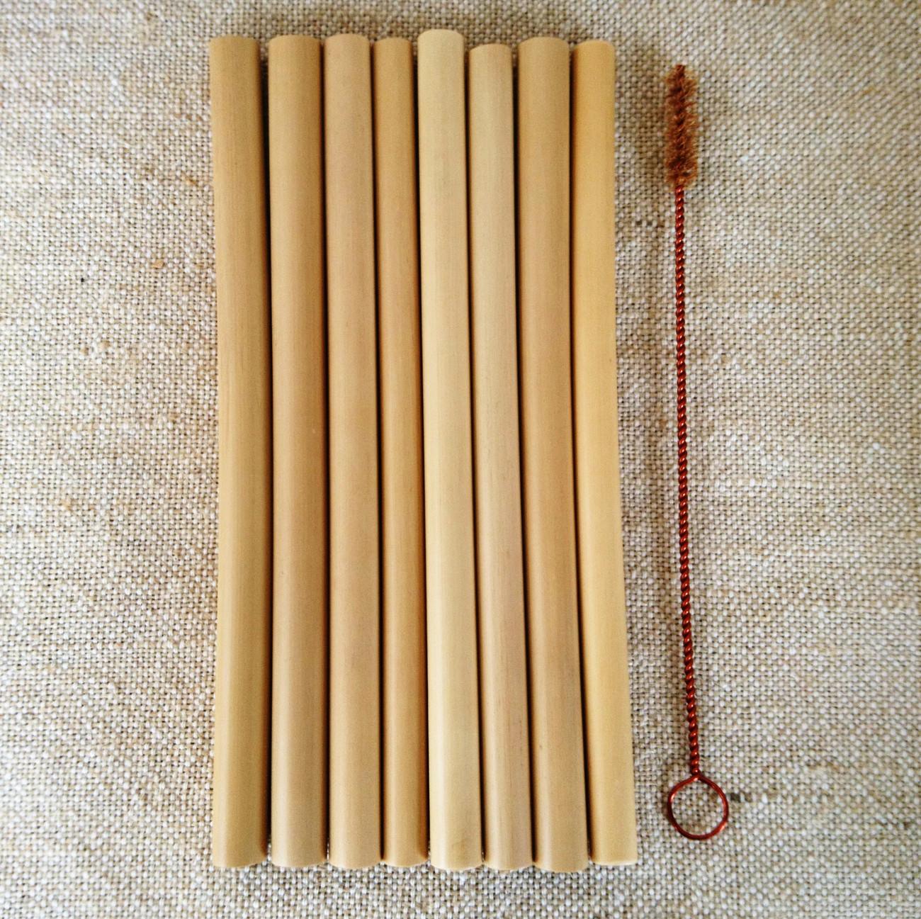 天然素材(再利用可能/生分解性)スペシャルバンブー(竹)ストロー8本+洗浄ブラシセット