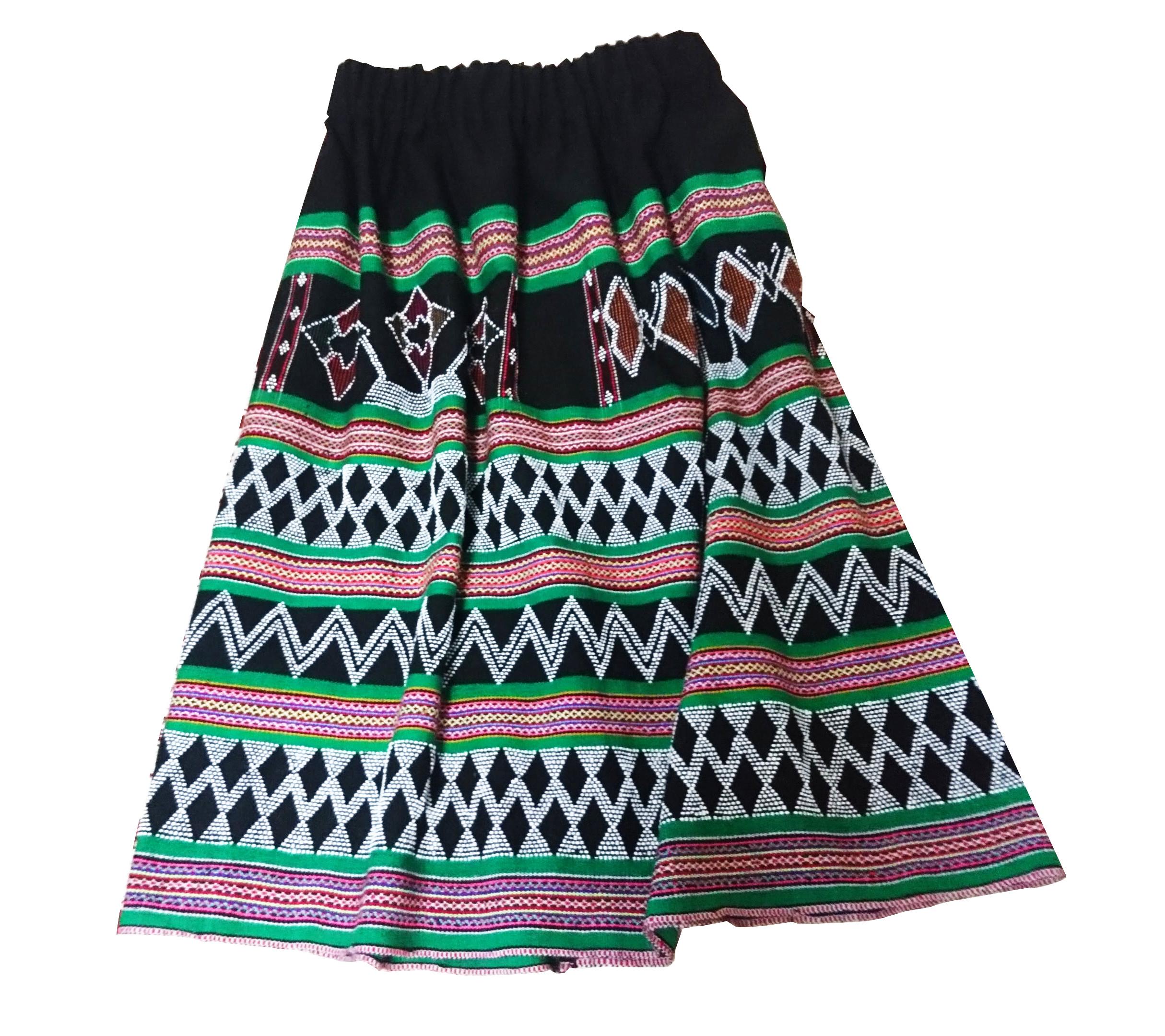 ターオイ族ビーズ入り手織りブロケード スカート(グリーンライン)(フリーサイズ)