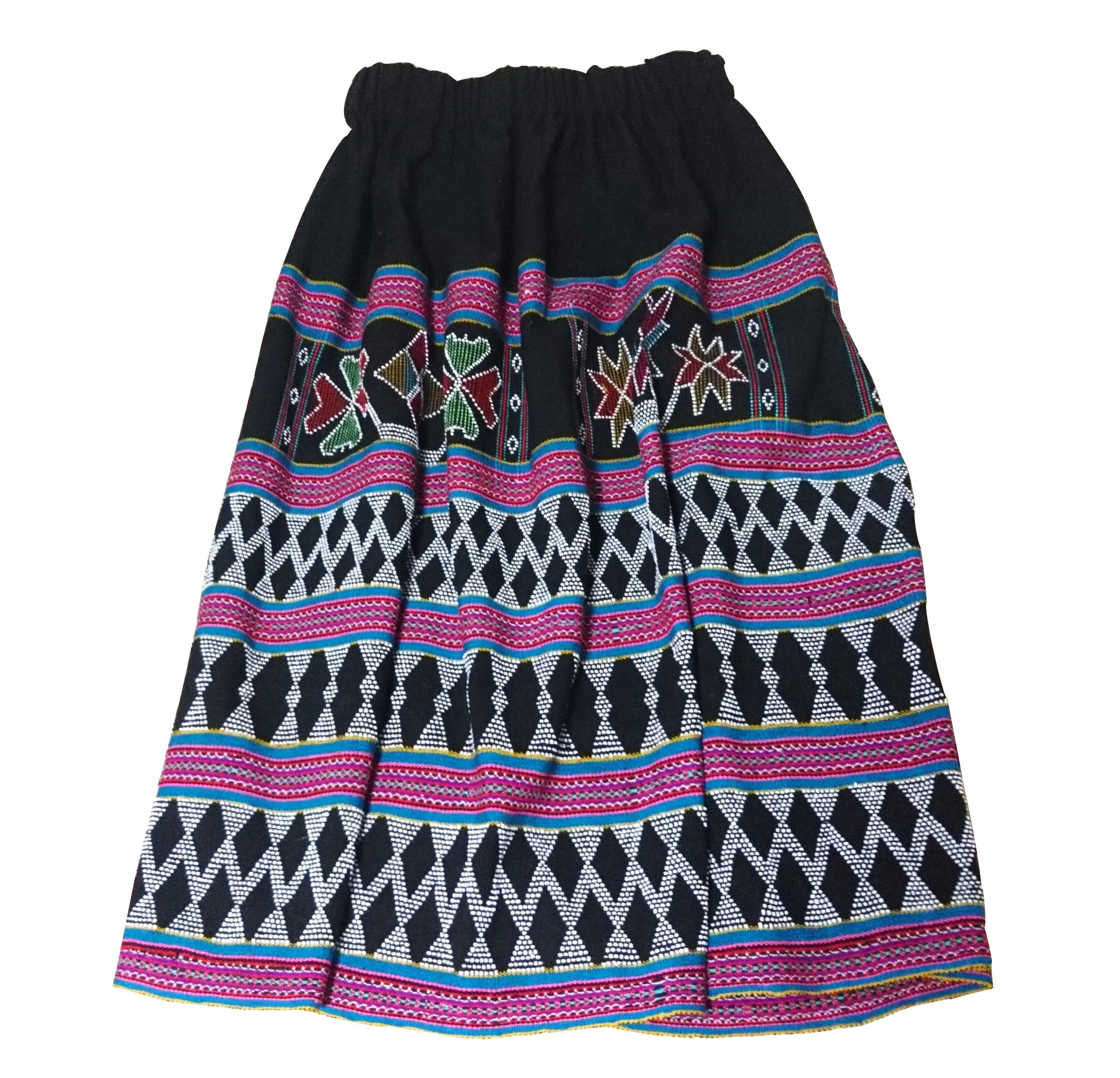 ターオイ族ビーズ入り手織りブロケード スカート(パープル・ブルーライン)(フリーサイズ)