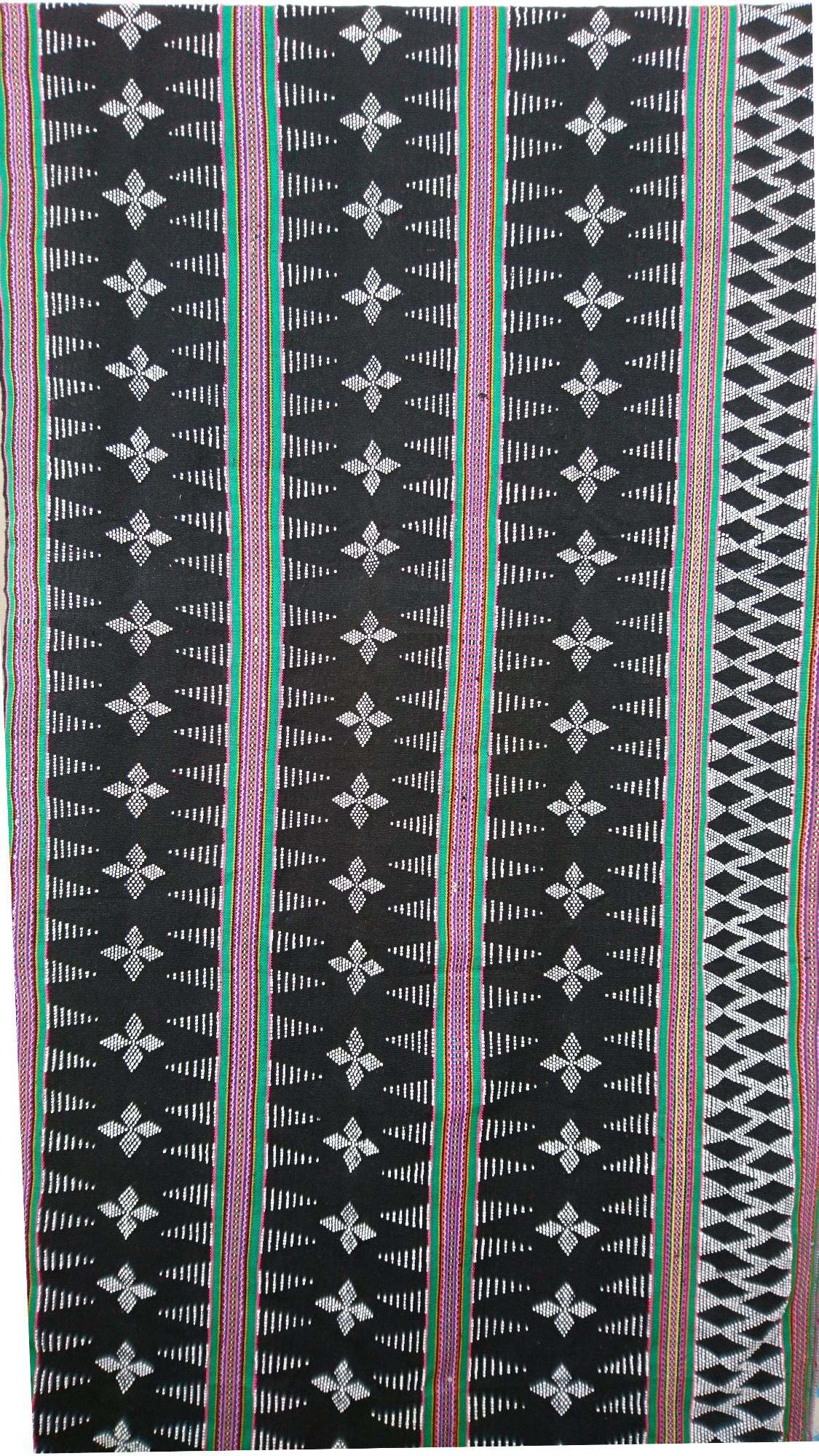 ターオイ族ビーズ入り手織りブロケードロング (ビーズ柄)グリーン