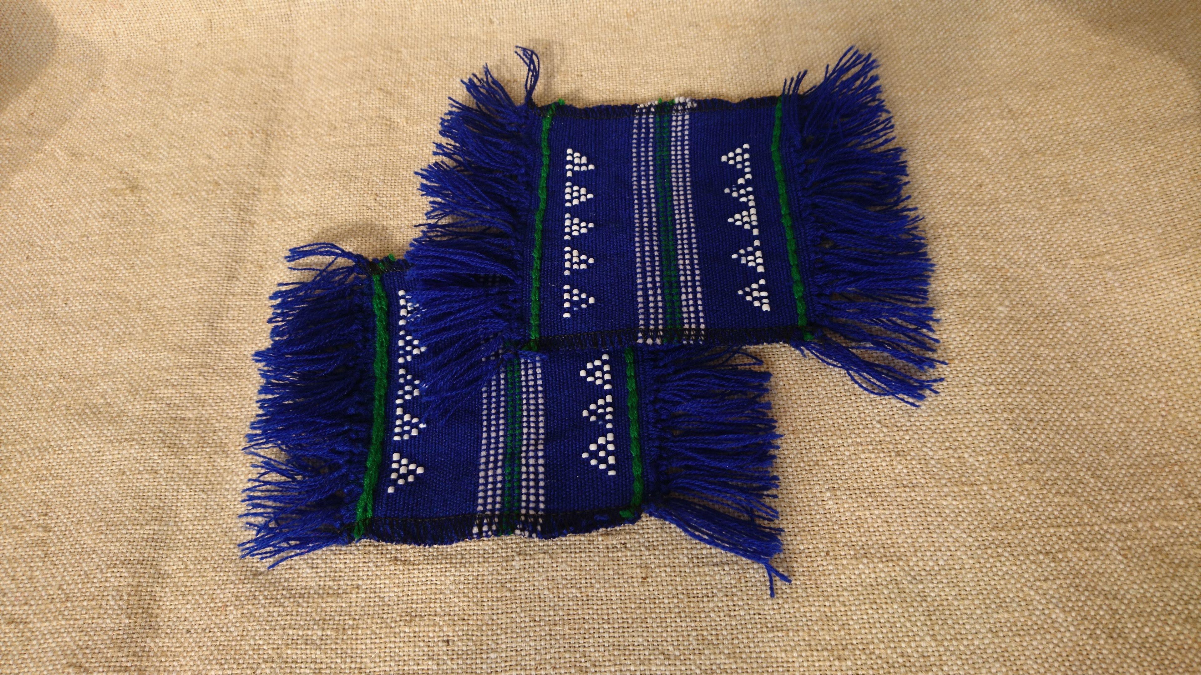 ターオイ族ビーズ入り手織り生地コースター(2枚組)