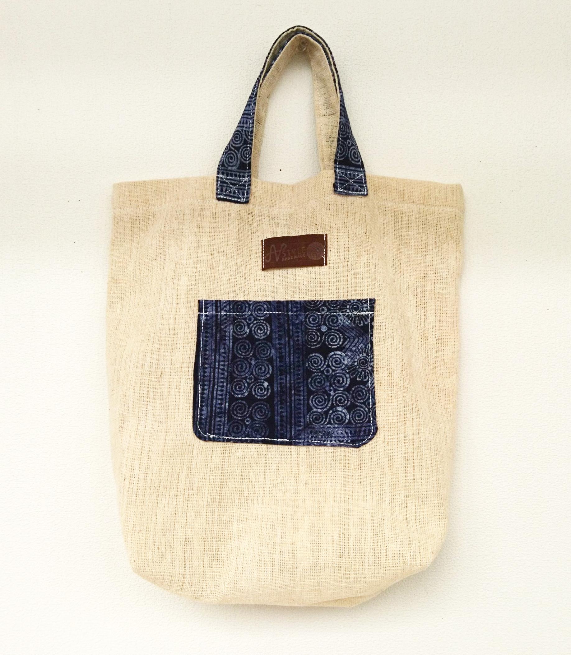 モン族手織りヘンプ生地トートバッグ