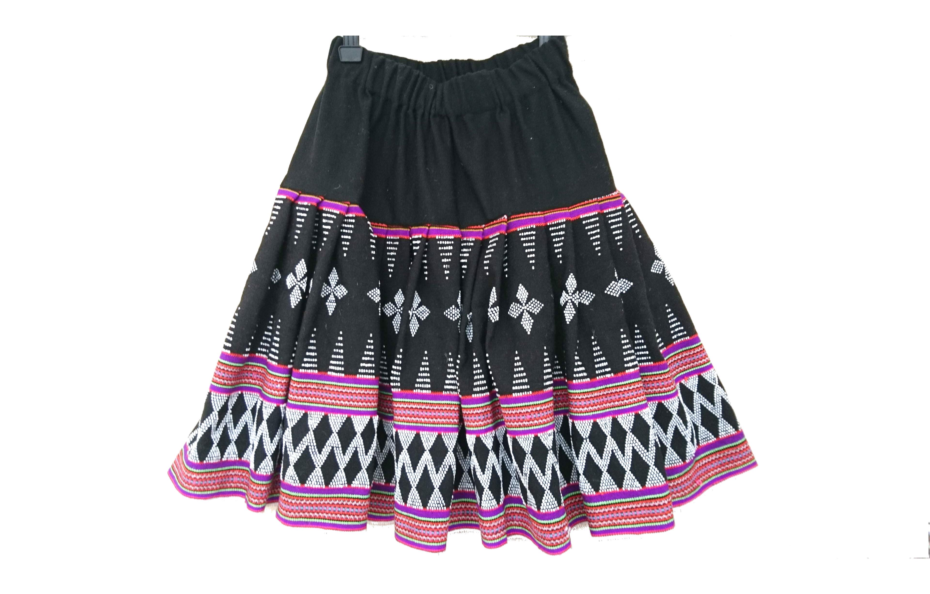 ターオイ族ビーズ入り手織りブロケード ミディスカート(フリーサイズ)