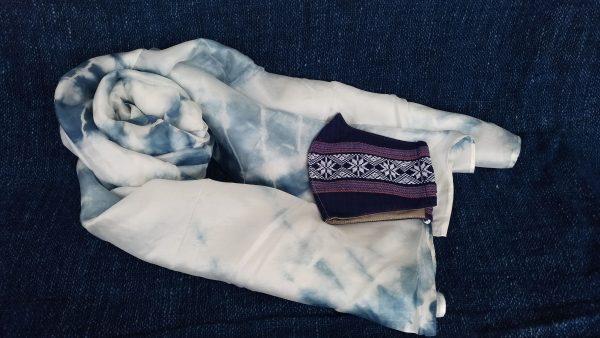 ホアティン村スカーフ&マスク(ブルー絞り染め)